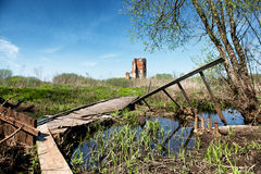 Medieval castle ruin in Smolyany town in Belarus Stock Photography