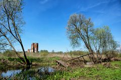 Medieval castle ruin in Smolyany town in Belarus Royalty Free Stock Photos
