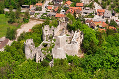 Medieval castle ruins. In green forest. Aerial view. Stari Grad Samobor, Croatia Stock Images