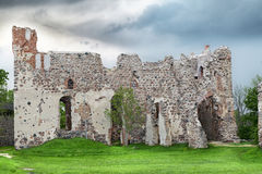 Medieval Castle Ruins. On a dark blue sky background Stock Photography