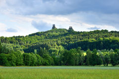 Medieval castle ruins and green forest Stock Photography