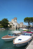 Medieval castle Scaliger in old town of Sirmione . beautiful lak Stock Photography