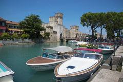 Medieval castle Scaliger in old town of Sirmione . beautiful lak Stock Image
