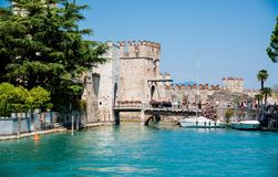 medieval castle Scaliger in old town of Sirmione . beautiful lake Lago di Garda, Italy. June 19, 2017 stock photography
