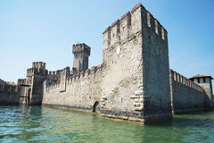 Medieval castle Scaliger in old town Sirmione on lake Lago di Ga Royalty Free Stock Photography