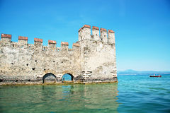 Medieval castle Scaliger in old town Sirmione on lake Lago di Garda. Italy Stock Image