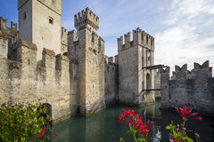 Medieval castle Scaliger in old town Sirmione Royalty Free Stock Images