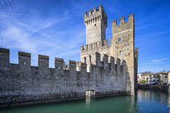 Medieval castle Scaliger in old town Sirmione Royalty Free Stock Photos