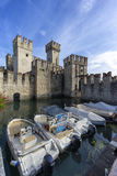 Medieval castle Scaliger in old town Sirmione Stock Image