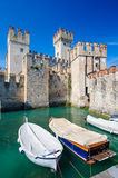 Medieval castle Scaliger in old town Sirmione on lake Lago di Garda, northern Italy Royalty Free Stock Photos