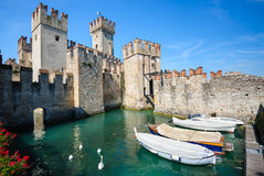 Medieval castle Scaliger in old town Sirmione on lake Lago di Garda, northern Italy Royalty Free Stock Images