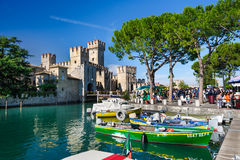 Medieval castle Scaliger in old town Sirmione on lake Lago di Garda, northern Italy Royalty Free Stock Photography