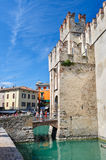 Medieval castle Scaliger in old town Sirmione on lake Lago di Garda, northern Italy Stock Photo
