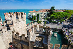 Medieval castle Scaliger in old town Sirmione on lake Lago di Garda, northern Italy Stock Image