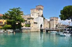 Medieval castle Scaliger in Sirmione on lake Lago di Ga Royalty Free Stock Images
