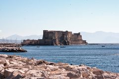 Castel dell`Ovo. The medieval castle by the sea known as Castel dell`Ovo, Egg castle, iconic symbol of Naples, Italy Stock Photography