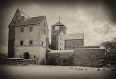 Medieval castle in sepia Stock Images