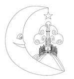Medieval castle and smiling moon - hand drawing illustration Royalty Free Stock Photography