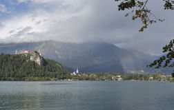 Medieval castle, St. Martins Parish Church and Bled Lake stock image