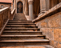 Medieval castle staircase. Detail from the Corvins Castle, (XV century), located in Romania, on the Center of Hunedoara City, southwestern part of Transylvania royalty free stock images