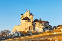 Medieval castle at sunset in Bobolice Royalty Free Stock Image