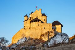 Medieval castle at sunset in Bobolice. Poland Stock Images