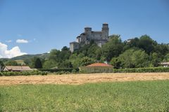 Castle of Torrechiara Italy and vineyard Royalty Free Stock Images