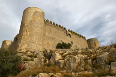Medieval Castle of Torroella de Montgri. On the top of a mountain in Girona, Costa Brava Stock Photos