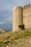 Medieval Castle of Torroella de Montgri. On the top of a mountain in Girona, Costa Brava Stock Photo