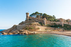 Medieval castle in Tossa de Mar, Spain Stock Images