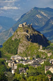 The medieval castle Tourbillon and the town of Sion Switzerland stock photos