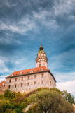 Medieval Castle tower in Cesky Krumlov, Czech Royalty Free Stock Photography