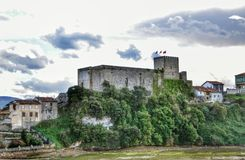 Medieval castle tower and Church of San Vicente de la Barquera Royalty Free Stock Images
