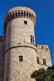 Medieval castle tower. Rhodes town, Greece stock photo