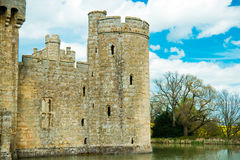 Medieval castle tower surrounded by moat Royalty Free Stock Image