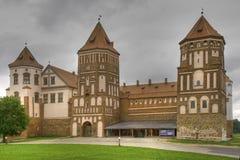 Medieval castle in town. Mir in Belarus - HDR (High Hynamic Range) Version Stock Image