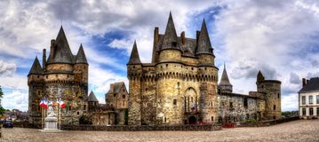 Medieval castle in the town of Vitre. stock image