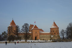 Medieval castle in Trakai, winter landscape, Vilnius County, Lit Stock Photos