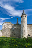 Medieval castle under blue cloudy sky Stock Photo