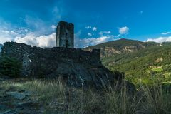 Medieval castle in valle d`aosta stock photography