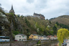 Medieval Castle Vianden. Build on top of the mountain in cloudy weather. Luxembourg Stock Photos