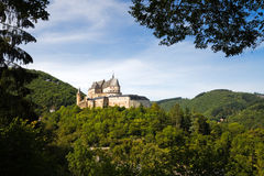 Medieval Castle of Vianden, Luxembourg. Vianden, Medieval castle build on top of the mountain in Luxembourg or Letzebuerg Stock Photo
