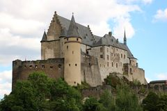 Vianden castle Luxembourg. The medieval castle of Vianden, in Luxembourg, Europe. One of the largest and most beautiful fortified castles west of Germany Royalty Free Stock Image