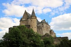 Vianden castle Luxembourg. The medieval castle of Vianden, in Luxembourg, Europe. One of the largest and most beautiful fortified castles west of Germany Royalty Free Stock Photo