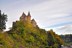 Medieval Castle of Vianden on top of the mountain in Luxembourg.  Stock Photo