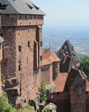 Medieval Castle View. The medieval castle of Haut- Koenigsburg and its spectacular views over the Rhine valley in the Alsace region of France Stock Image