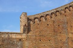 Medieval castle wall as background . brick wall.  stock photo
