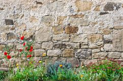 Medieval castle wall with flower garden. In front of it Background stock photos