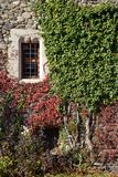 Medieval castle wall with window, Introd castle, Aosta Valley, Italy. royalty free stock photography