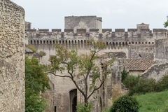 Medieval castle walls of Fort Saint-Andre in town of Villeneuve les Avignon (Languedoc-Roussillon, France) Royalty Free Stock Image